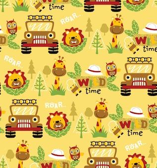 Bezszwowy deseniowy wektor z śmiesznymi zwierzętami i samochodem, leśniczego wyposażenie