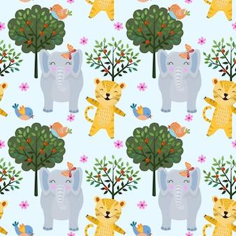 Bezszwowy deseniowy zwierzę w lesie z tygrysem i słoniem. może używać do tapet z tkanin.