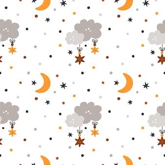Bezszwowy dziecięcy wzór boho z kreskówkowymi chmurami, księżycami i gwiazdami dla dzieci