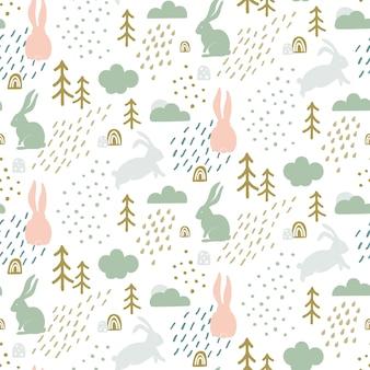 Bezszwowy dziecięcy wzór z śliczną królik sylwetką.
