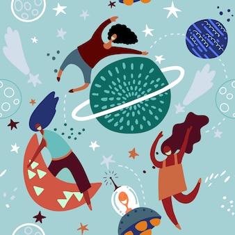 Bezszwowy dziecięcy wzór z śmiesznymi dziewczynami z księżycami i gwiaździstym niebem.