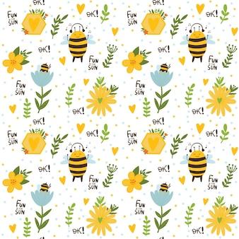 Bezszwowy dziecięcy wzór z uroczymi pszczołami tęczowymi gwiazdami i chmurami tło dzieci w pastelowych