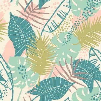 Bezszwowy egzotyczny wzór z tropikalnymi roślinami.