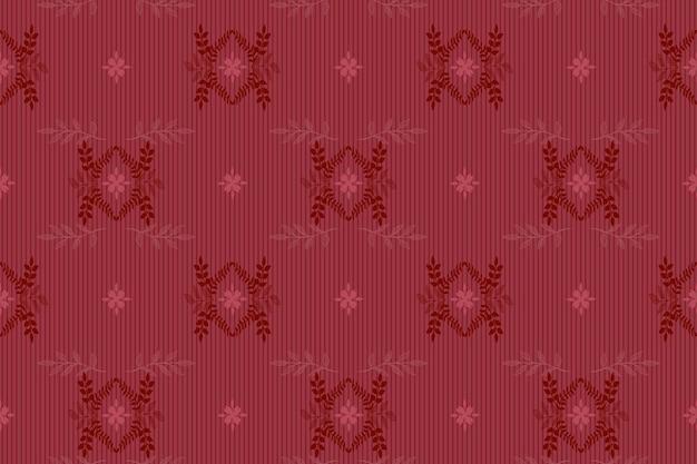 Bezszwowy elegancki wzór wektora w stylu adamaszku - kwiatowy kwiecisty, ciemnoczerwony królewski kolor