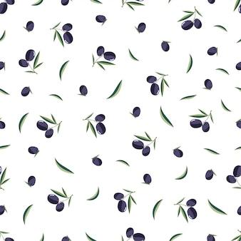 Bezszwowy gałązka oliwna wzór na białym tle