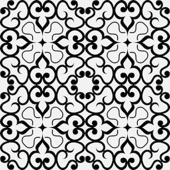 Bezszwowy geometryczny czarno-biały wzór orientalnych motywów