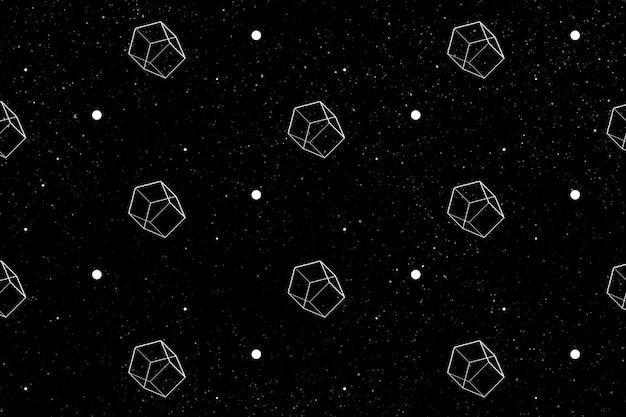 Bezszwowy geometryczny wzór pięciokąta 3d na czarnym tle