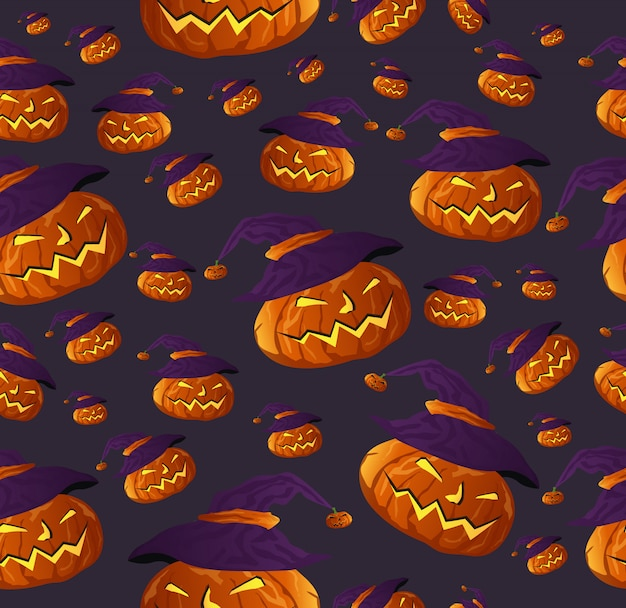 Bezszwowy halloweenowy bania wzór z czarownicami kapeluszowymi