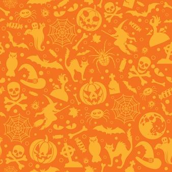 Bezszwowy halloweenowy wzór z nietoperzami, duchem i dynią.