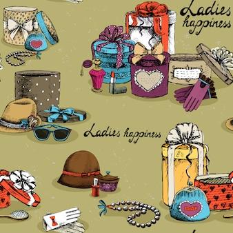 Bezszwowy kobiety akcesorium z prezentów pudełkami