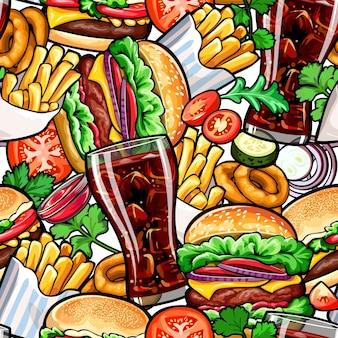 Bezszwowy kolorowy wzór z fast foodem