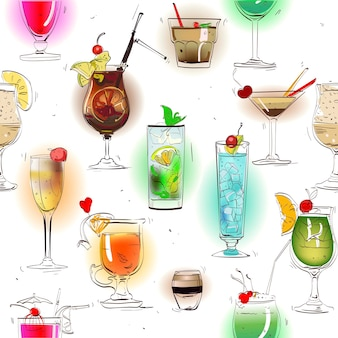 Bezszwowy kolorowy wzór z klasycznymi koktajlami alkoholowymi