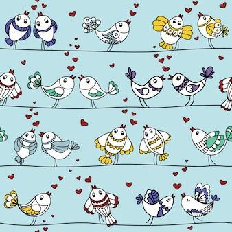 Bezszwowy kolorowy wzór z ptakami kochankowie