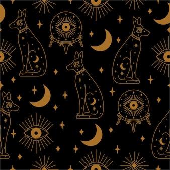 Bezszwowy kot czarownicy i ilustracja wzór kryształowej kuli w wektorze
