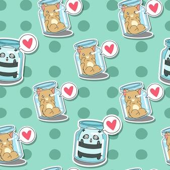 Bezszwowy kot i panda w butelka wzorze.