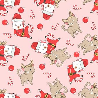 Bezszwowy kot i parasol o wzorze serca