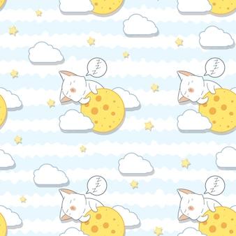 Bezszwowy kot kawaii przytula wzór księżyca.