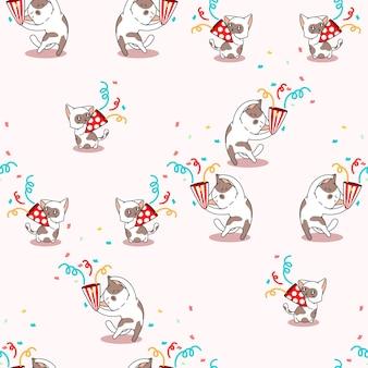 Bezszwowy kot w imprezowym wzorze