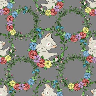 Bezszwowy kot z kwiatowym wzorem wieniec