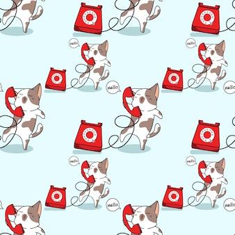 Bezszwowy kot z wzorem telefonu