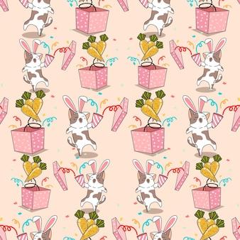 Bezszwowy króliczek kot z wzorem marchewki