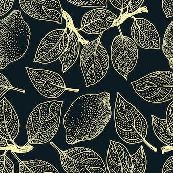 Bezszwowy kwiecisty wzór. cytryn owoc tło. kwiaty, liście cytryny