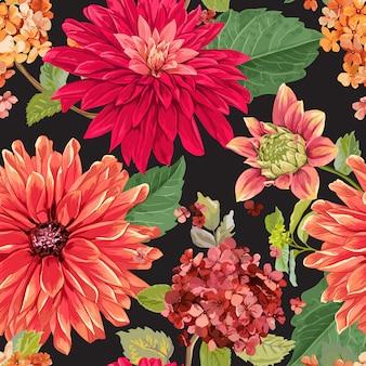 Bezszwowy kwiecisty wzór z czerwonymi astery kwitnie tło