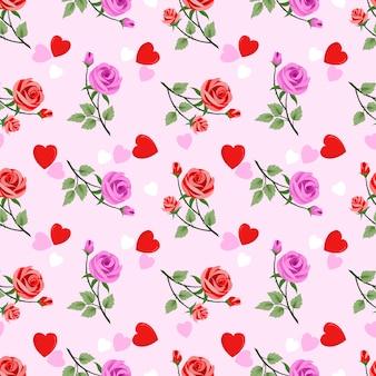 Bezszwowy kwiecisty wzór z różowymi różami i sercami na różowym tle.