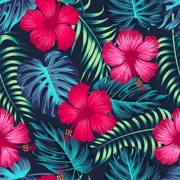 Bezszwowy kwiecisty wzór z tropikalnymi liśćmi, tropikalny tło