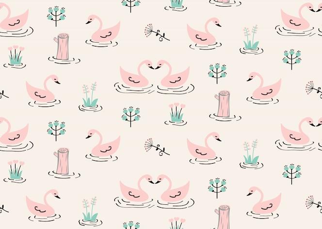 Bezszwowy łabędź wzór z kikutem i dzikimi kwiatami w kanale.