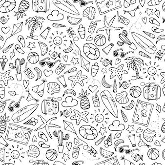 Bezszwowy lato wzór z doodles