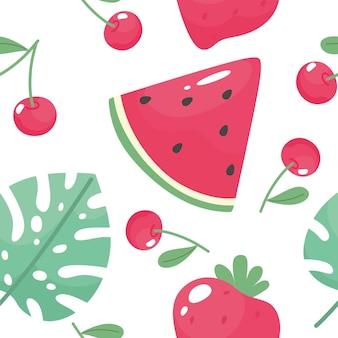 Bezszwowy letni wzór z arbuzem, truskawką, czereśnią i tropikalnym liściem