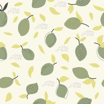 Bezszwowy naturalny wzór cytryny i liści białe tło rysunek odręczny