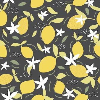 Bezszwowy naturalny wzór cytryny i zielony liść czarne tło rysunek odręczny