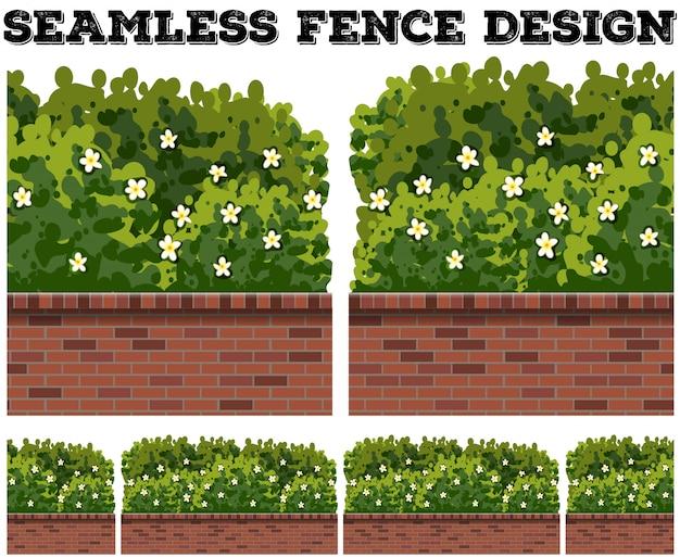 Bezszwowy ogrodzenie z krzakiem i kwiatami