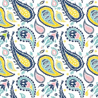 Bezszwowy paisley wzór w białym tle