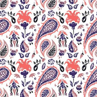 Bezszwowy paisley wzór w lavander kolorach