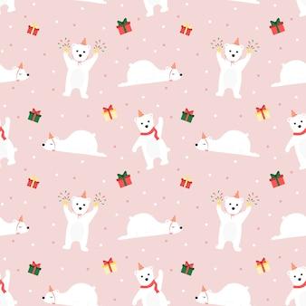 Bezszwowy patern niedźwiedź polarny i prezent na różowym tle