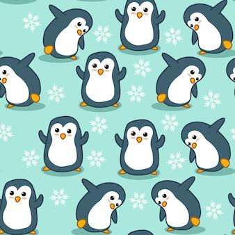 Bezszwowy pingwinu wzór.
