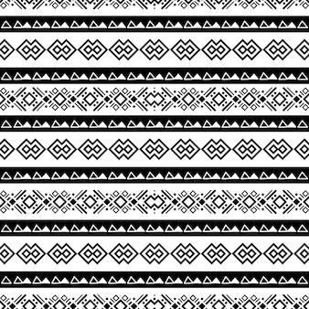 Bezszwowy plemienny czarno-biały wzór navajo etniczny ornament wektorowy