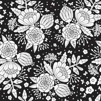 Bezszwowy rocznika wzór z dekoracyjnymi kwiatami.