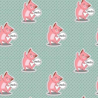 Bezszwowy różowy kot mówi cześć wzór.