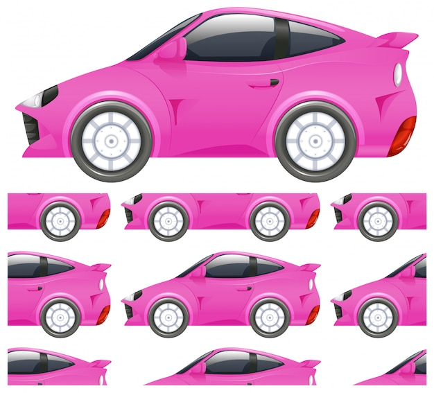 Bezszwowy różowy samochodu wzór odizolowywający na bielu