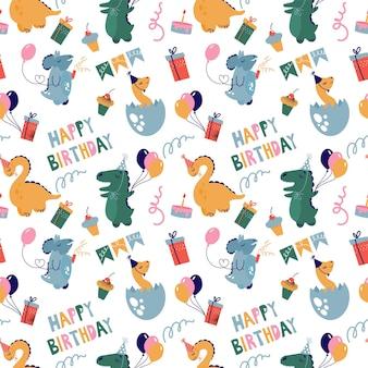 Bezszwowy rysunek z dinozaurami świętującymi urodziny balonami i słodyczami