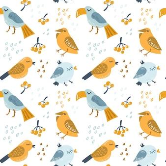 Bezszwowy skandynawski wzór przedszkola z kolorowymi ptakami