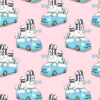 Bezszwowy śliczny gigantyczny kot i pandy na błękitnym samochód dostawczy wzorze.