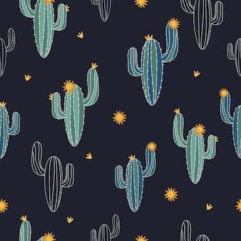 Bezszwowy śliczny kaktusa wzoru tło