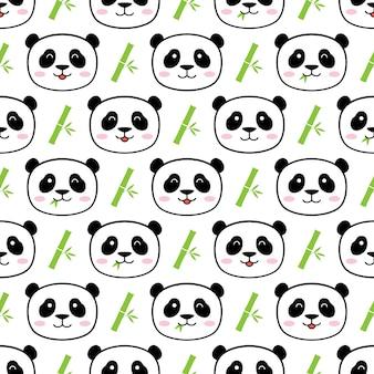 Bezszwowy śliczny panda wektoru wzoru tło