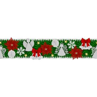 Bezszwowy świąteczny baner z papierowymi dekoracjami