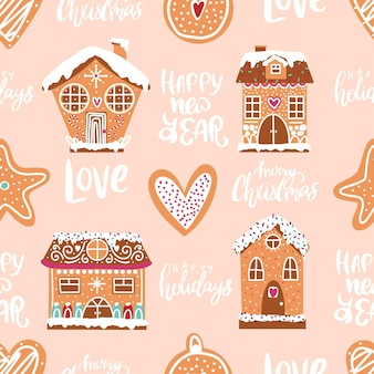 Bezszwowy świąteczny piernik z piernikowymi ciasteczkami i świątecznymi napisami handdrawn